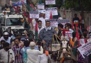 पेट्रोल-डीजल के बढ़ते दाम के खिलाफ पप्पू यादव ने किया टमटम से विरोध-प्रदर्शन